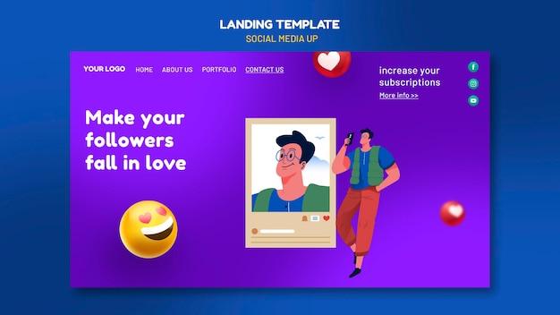 Social media landing page template