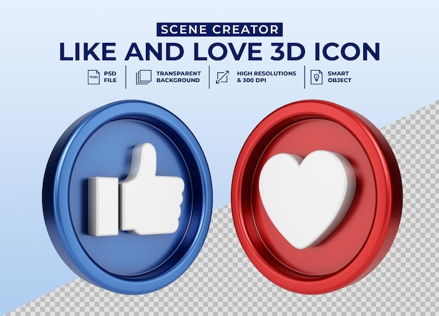 Social media like and love minimalist 3d button icon for scene creator