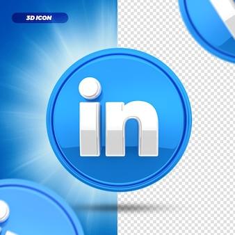 소셜 미디어 linkedin 3d 렌더링 아이콘 절연