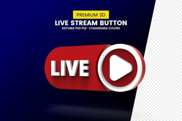 Social media live streaming 3d rendering button isolated