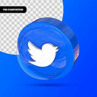 Логотип социальных сетей, изолированных в 3d-рендеринге premium psd