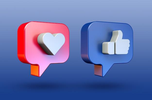 Социальные сети любят и любят минималистичный значок 3d кнопки
