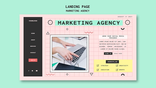 소셜 미디어 마케팅 대행사 방문 페이지 템플릿 무료 PSD 파일