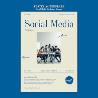 ソーシャルメディアマーケティングエージェンシーのポスターデザインテンプレート