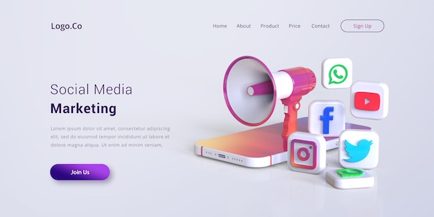Social media marketing landing page mockup