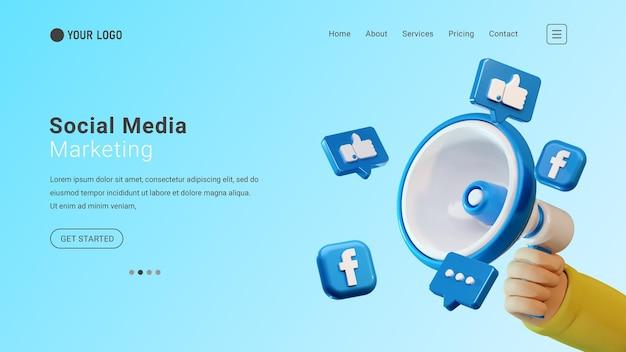 Веб-сайт целевой страницы маркетинга в социальных сетях с 3d-ручным мегафоном и значками facebook