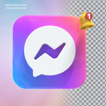 벨 알림 3d 소셜 미디어 메시지 아이콘
