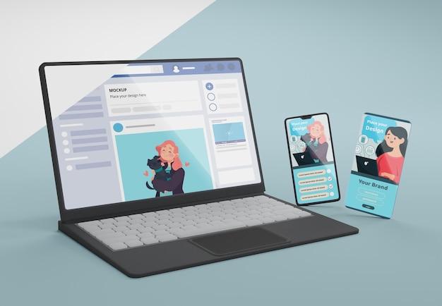 Social media on mock-up device