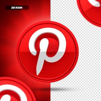 소셜 미디어 pinterest 3d 렌더링 아이콘 절연
