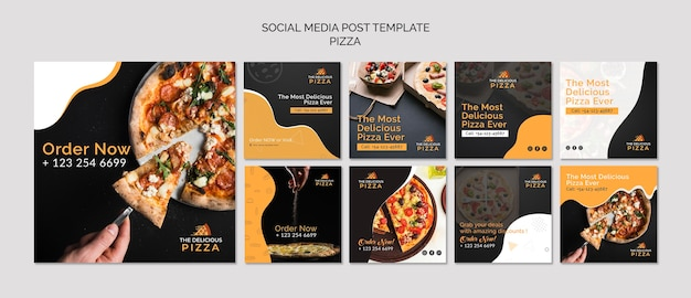 Modello di post pizza social media