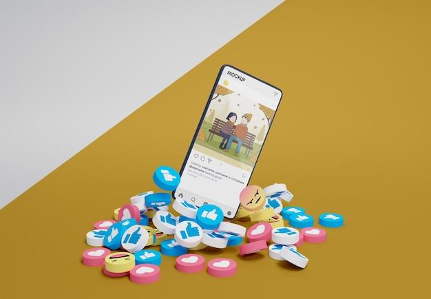 Social media platform on mock-up device