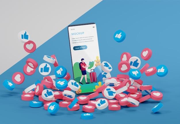 アイコン付きのモックアップデバイス上のソーシャルメディアプラットフォーム