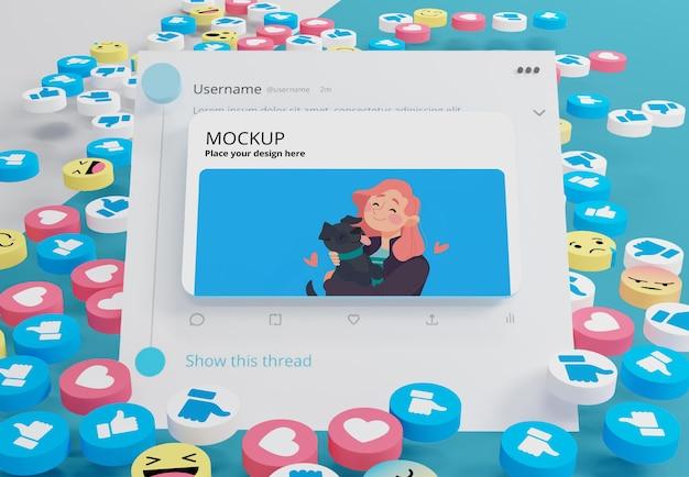Платформа социальных сетей на макете устройства с иконками