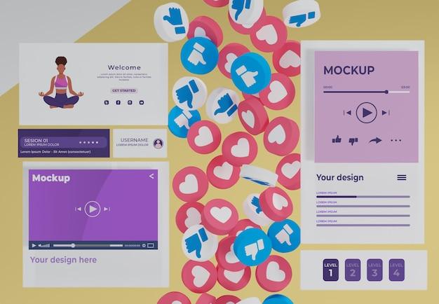 モックアップデバイス上のソーシャルメディアプラットフォーム