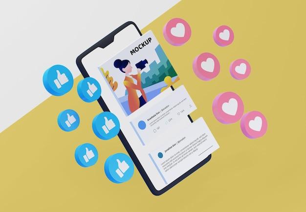 Платформа социальных сетей на макете устройства