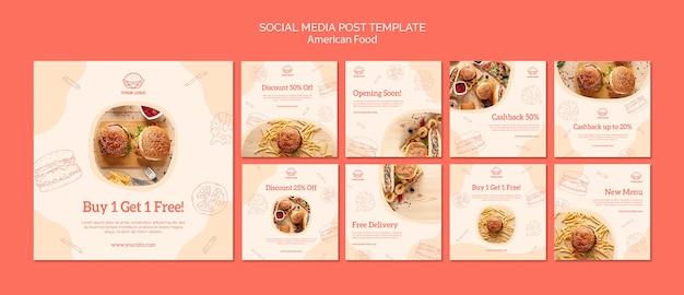 소셜 미디어 포스트 미국 음식