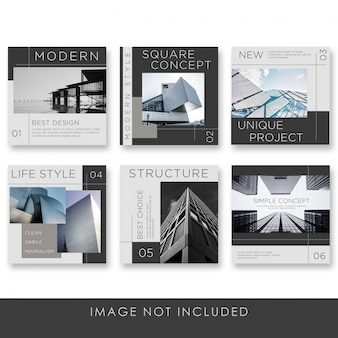 Social media post architecture collection with black color template