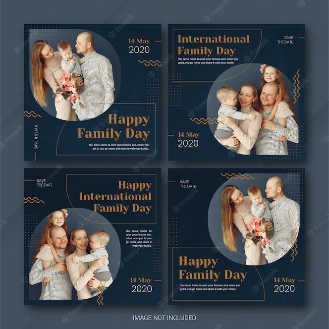 소셜 미디어 게시물 배너 번들 국제 가족의 날 템플릿