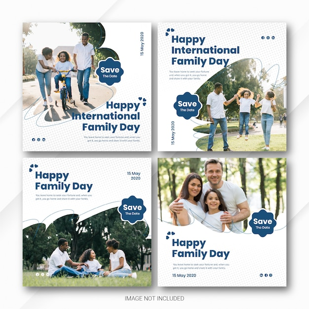 Social media post banner bundle international family day template