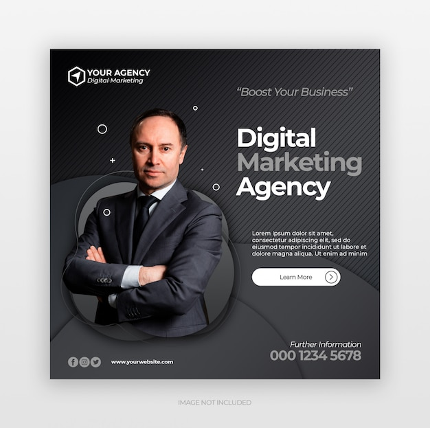 Социальные медиа размещают баннер или квадратный флаер с концепцией цифрового бизнес-маркетинга