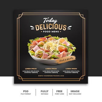 Social media post banner template for delicious luxury restaurant food menu