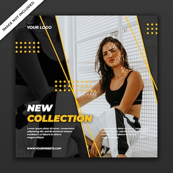 Social media post banner template new fashion style girl