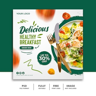 Social media post banner template for restaurant food menu