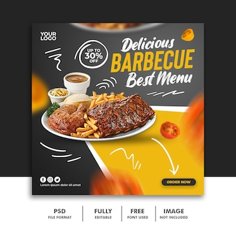 Social media post banner template for restaurant food menu