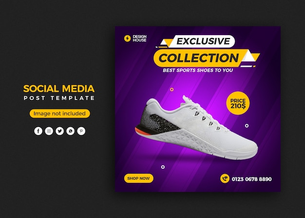 Social media post banner template for shoes sales