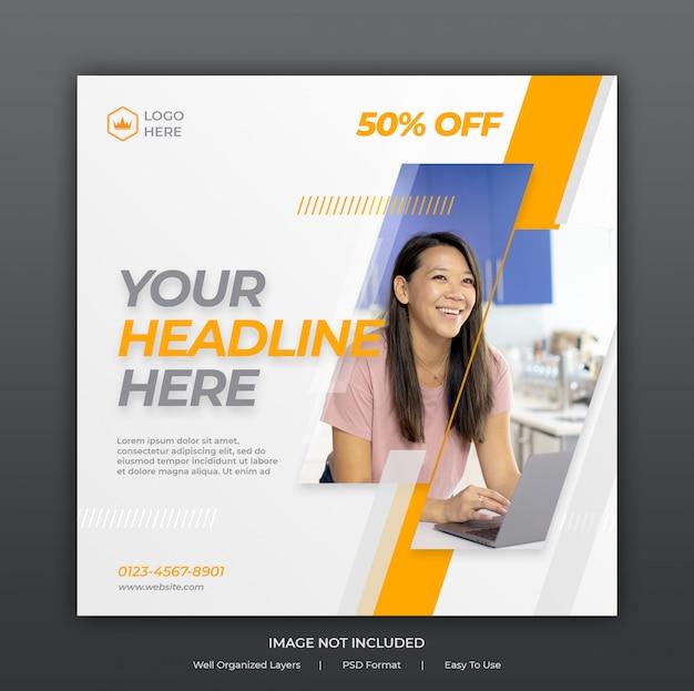 Social media post banner template or square flyer
