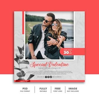 Social media post banner template for valentine couple