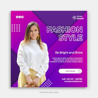 Social media post banner template with purple fashion sale banner template or square flyer concept