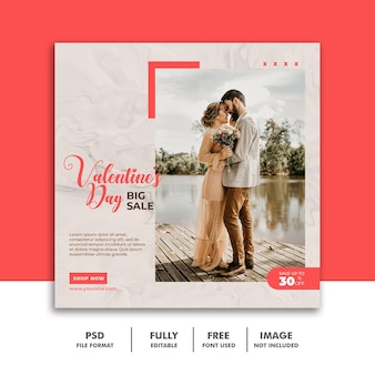social media post banner valentine template for couples