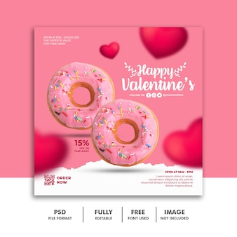 Social media post banner valentine template for food menu