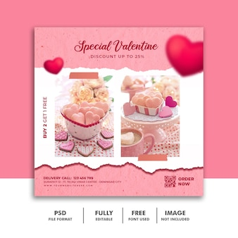 Social media post banner valentine template for food menu