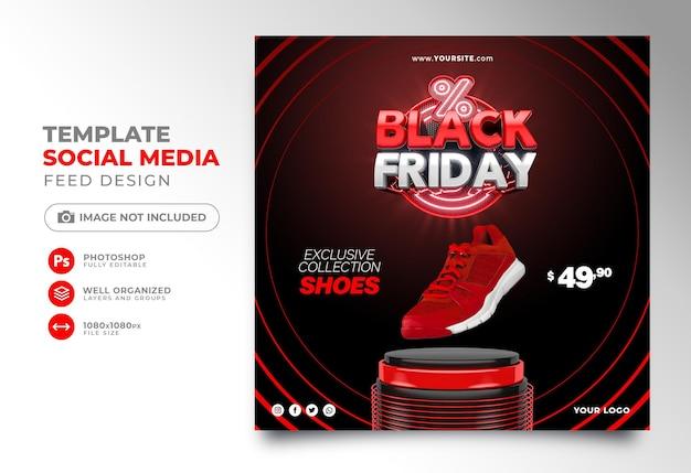 Публикация в социальных сетях 3d-рендера в стиле черной пятницы для instagram с супер предложениями и акциями