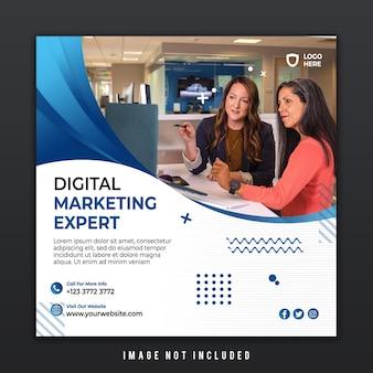 Бизнес-шаблон публикации в социальных сетях для эксперта агентства цифрового маркетинга