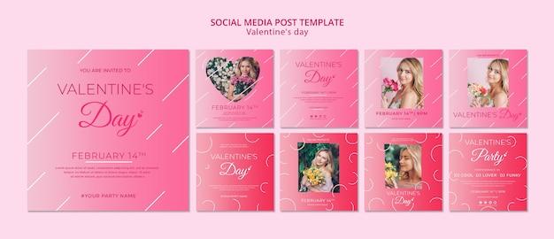 バレンタインデーテンプレートのソーシャルメディア投稿コンセプト