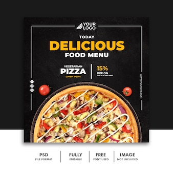 Social media post fastfood banner template for restaurant pizza