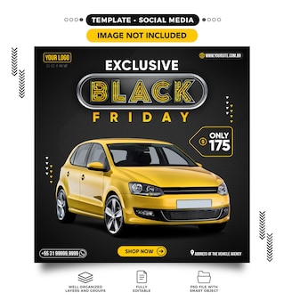 Social media post feed on black friday car sales
