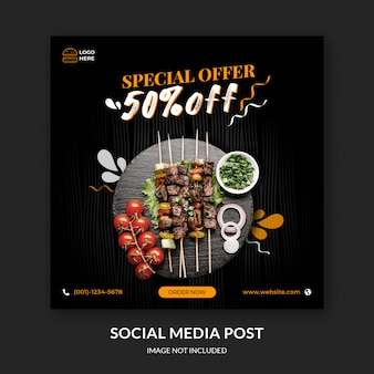 Social media post for food and barbecue restaurant template premium psd