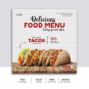 Social media post food for restaurant template banner