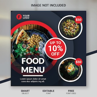 Social media post food restaurant template