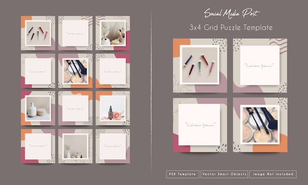 Social media post in grid puzzle mode template