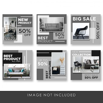 Social media post home and furniture black elegant collection template