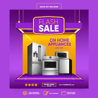 Social media post instagram flash sale up to 50 percent on home appliances 3d render