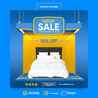 소셜 미디어 게시물 인스 타 그램 대단한 판매 최대 50 % 3d 렌더링