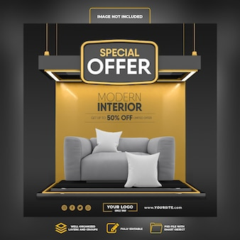 Social media post instagram special offer up to 50 percent modern interior 3d render