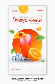 Social media post instagram stories banner template for restaurant food menu summer drink