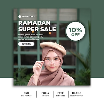 Social media post instagram template fashion ramadan super sale hijab girl
